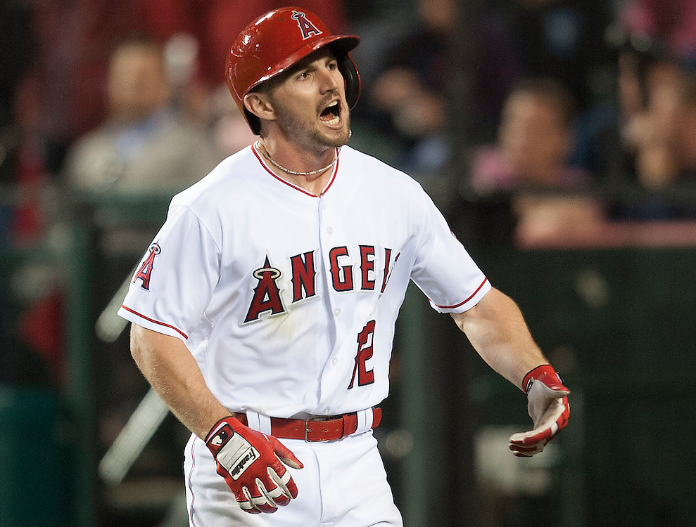 The Angels' Johnny Giavotella celebrates after his three-run home run during the Angels' 9-4 victory over the Kansas City Royals Tuesday night at Angel Stadium.<br /> <br /> <br /> ///ADDITIONAL INFO:   <br /> <br /> angels.0427.kjs-pre  ---  Photo by KEVIN SULLIVAN / Orange County Register  --  4/26/16<br /> <br /> The Los Angeles Angels take on the Kansas City Royals Tuesday at Angel Stadium.<br /> <br /> <br />  4/26/16