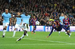Barcelona's Neymar attempts a shot on goal with a bicycle kick - Photo mandatory by-line: Dougie Allward/JMP - Mobile: 07966 386802 - 18/03/2015 - SPORT - Football - Barcelona - Nou Camp - Barcelona v Manchester City - UEFA Champions League - Round 16 - Second Leg