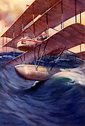 The Air-Liner of the Future, 1914. Idea for a transatlantic air liner  which would fly at 10,000 but in an emergency could descend to sea level and skim the surface.  It was expected that the flight between London and New York would take less than 24 hours.  Illustration by C Dudley Tennant (active 1898-1918).
