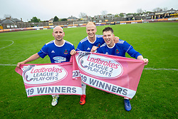 Cove Rangers scorers Paul McManus, Jordan Brown and Jamie Masson. Cove Rangers have become the SPFL's newest side and ended Berwick Rangers' 68-year stay in Scotland's senior leagues by earning a League Two place. Berwick Rangers 0 v 3 Cove Rangers, League Two Play-Off Second Leg played 18/5/2019 at Berwick Rangers Stadium Shielfield Park.
