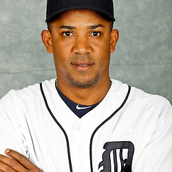 February 28, 2012; Lakeland, FL, USA; Detroit Tigers relief pitcher Octavio Dotel (20) poses for photo day in the rec room at the Detroit Tigers Headquarters.  Mandatory Credit: Derick E. Hingle-US PRESSWIRE