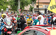 21 July 2019, at the start stage 15, Tour de France, Limoux with yellow Jersey wearer Julian Alaphilippe and Peter Sagan in the green Jersey