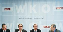 """10.03.2017, WKÖ, Wien, AUT, Pressekonferenz """"Startschuss zur Wirtschaftskammer-Reform WKO 4.0"""", im Bild v.l.n.r. Matthias Krenn (Freiheitliche Wirtschaft), Christoph Matznetter (Sozialdemokratischer Wirtschaftsverband, Wirtschaftskammer Österreich Präsident Christoph Leitl (ÖVP) und Richard Schenz (Liste Industrie) // during press conference of the President of the Austrian Economic Chamber in Austria in Vienna, Austria on 2017/03/10, EXPA Pictures © 2017, PhotoCredit: EXPA/ Michael Gruber"""