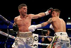 Charlie Edwards (right) in action against Angel Moreno in their World Boxing Council World Flyweight Title bout at the Copper Box Arena, London.