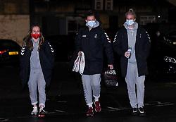 Ellen Jones, Yana Daniels of Bristol City Women and Jasmine Matthews of Bristol City Women arrives at Twerton Park prior to kick off - Mandatory by-line: Ryan Hiscott/JMP - 13/01/2021 - FOOTBALL - Twerton Park - Bath, England - Bristol City Women v Aston Villa Women - FA Continental Cup quarter final