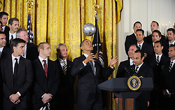 U.S. President Barack Obama juggles with a soccer ball as he welcome the Stanley Cup champion Los Angeles Kings and the Major League Soccer champion LA Galaxy to the White House to honor their 2012 championship seasons in a ceremony in the East Room of the White House March 26, 2013 in Washington, DC. Photo by Olivier Douliery/ABACAPRESS.COM  | 358315_001 Washington Etats-Unis United States