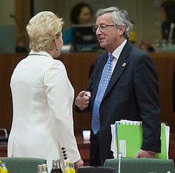 Jean-Claude Juncker, Luxembourg's prime minister, right, speaks with Dalia Grybauskaite, Lithuania's president, during the European Summit meeting at EU Council headquarters in Brussels, Belgium, on Thursday, June 17, 2010. (Photo © Jock Fistick)