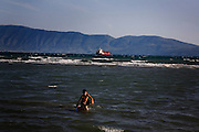 Kids play in the sea in Vlore