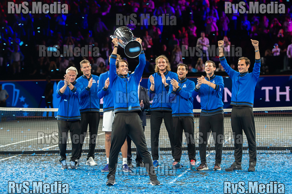 GENEVA, SWITZERLAND - SEPTEMBER 22: Rafael Nadal of Team Europe celebrates with the trophy after winning against Team World during Day 3 of the Laver Cup 2019 at Palexpo on September 20, 2019 in Geneva, Switzerland. The Laver Cup will see six players from the rest of the World competing against their counterparts from Europe. Team World is captained by John McEnroe and Team Europe is captained by Bjorn Borg. The tournament runs from September 20-22. (Photo by Robert Hradil/RvS.Media)