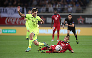 Giorgi Chakvetadze (Gent) and Jaroslav Plasil (Bordeaux) fight for the ball during the first leg of the Uefa Europa League play-off match between Kaa Gent and Girondins de Bordeaux on August 23, 2018 in Ghent, Belgium, Photo Vincent Van Doornick / Isosport / Pro Shots / ProSportsImages / DPPI