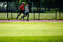 Slovenian athlete Marusa Mismas Zrimsek and her husband Matej Zrimsek during practice session after loosening coronavirus COVID-19 restriction, on May 3, 2020 in Stadion Kodeljevo, Ljubljana, Slovenia. Photo by Vid Ponikvar / Sportida