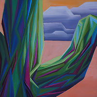 The simple junction of a saguaro arm against the dusky desert sky makes for an intriguing view.<br /> 12 x 12, oil on canvas<br /> SOLD