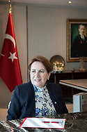 Iyi party leader Meral Aksenar in her office at the iyi party headquarters in Anraka, Turkey. February 1st 2018