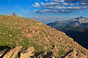 USA, Colorado, Rocky Mountain National Park, tourists at  Forest Canyon Overlook