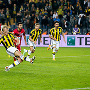 Fenerbahce's Dirk Kuyt scores during their Turkish superleague soccer match Fenerbahce between Genclerbirligi at the Sukru Saracaoglu stadium in Istanbul Turkey on Saturday 25 October 2014. Photo by Aykut AKICI/TURKPIX