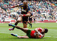 Picture by Andrew Tobin/Tobinators Ltd +44 7710 761829.12/05/2013.Goncalo Foro scores for Portugal in their game against Spain during the Emirates London 7s at Twickenham Stadium, Twickenham.