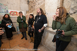 Mario Burkhardt and Ela Dutch In the cellar of the 12 Apostles Restaurant to see the excavation that dates back to Roman Times below this restauant that itself has been in continuous operation with the same name for almost 300 years! Motor Bike Expo. Verona, Italy. January 23, 2016.  Photography ©2016 Michael Lichter.