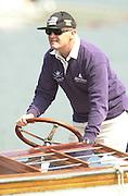 Henley. England. Oxford University [OUBC] Director of Rowing  Steve ROYAL, driving the Oxford launch [Umpires Launch]. 2001 Henley Women's Henley  Regatta, Henley Reach. United Kingdom. [Mandatory Credit: Peter Spurrier / Intersport Images] 20010623 Women's Henley Regatta.