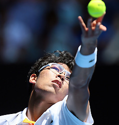 MELBOURNE, Jan. 24, 2018  Chung Hyeon of South Korea serves during the men's singles quarterfinal against Tennys Sandgren of the United States at Australian Open 2018 in Melbourne, Australia, Jan. 24, 2018. Chung Hyeon won 3-0. (Credit Image: © Li Peng/Xinhua via ZUMA Wire)