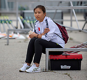 Plovdiv, Bulgaria, 9th May 2019, FISA, Rowing World Cup 1,  CHN, Chinese Translator, waits in Boat Park.<br /> [© Peter SPURRIER]