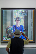The Blue Dress by David Cobley - The Royal Society of Portrait Painters Annual Exhibition at the Mall Galleries. It includes over 200 portraits by over 100 artists.