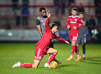 Lincoln City's Jordan Adebayo-Smith vies for possession with Accrington Stanley's Nick Anderton<br /> <br /> Photographer Andrew Vaughan/CameraSport<br /> <br /> The EFL Checkatrade Trophy Second Round - Accrington Stanley v Lincoln City - Crown Ground - Accrington<br />  <br /> World Copyright © 2018 CameraSport. All rights reserved. 43 Linden Ave. Countesthorpe. Leicester. England. LE8 5PG - Tel: +44 (0) 116 277 4147 - admin@camerasport.com - www.camerasport.com
