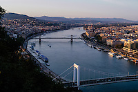 Budapest, Hungary.  Panorama view from Gellert Hill.