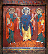 Romanesque thirteenth century painted altar front of Saint Roma de Vila, Encamp, Andorra, showing The Virgin Mary flanked by two angels.  National Art Museum of Catalonia, Barcelona 1922. Ref: MNAC 1587. .<br /> <br /> If you prefer you can also buy from our ALAMY PHOTO LIBRARY  Collection visit : https://www.alamy.com/portfolio/paul-williams-funkystock/romanesque-art-antiquities.html<br /> Type -     MNAC     - into the LOWER SEARCH WITHIN GALLERY box. Refine search by adding background colour, place, subject etc<br /> <br /> Visit our ROMANESQUE ART PHOTO COLLECTION for more   photos  to download or buy as prints https://funkystock.photoshelter.com/gallery-collection/Medieval-Romanesque-Art-Antiquities-Historic-Sites-Pictures-Images-of/C0000uYGQT94tY_Y