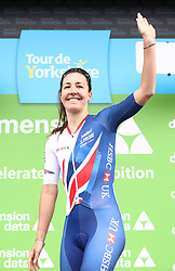 Team GB Cycling's Dani Rowe on the podium after finishing second in the overall classification during day two of the ASDA Women's Tour de Yorkshire from Barnsley to Ilkley.