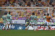 GOAL 1-2 Declan Gallagher (Motherwell) powers in a header during the Scottish Premiership match between Motherwell and Celtic at Fir Park, Motherwell, Scotland on 8 November 2020.