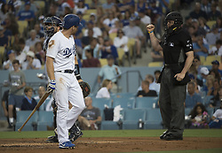 August 11, 2017 - Los Angeles, California, U.S - 11 Aug 2017. The Los Angeles Dodgers play the San Diego Padres in the first  game of a three-game series at Dodger Stadium. Pictured is Dodger Logan Forsythe reacting after being called out. (Credit Image: © Prensa Internacional via ZUMA Wire)