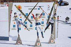 02.03.2021, Oberstdorf, GER, FIS Weltmeisterschaften Ski Nordisch, Oberstdorf 2021, Damen, Langlauf, 10 km Freestyle, Siegerpräsentation, im Bild v.l.: Silbermedaillengewinner Frida Karlsson (SWE), Weltmeisterin und Goldmedaillengewinner Therese Johaug (NOR), Bronzemedaillengewinner Ebba Andersson (SWE) // f.l.: Silver medalist Frida Karlsson of Sweden World champion and gold medalist Therese Johaug of Norway Bronze medalist Ebba Andersson of Sweden during the winner presentation for the women Cross Country 10km freestyle competition of the FIS Nordic Ski World Championships 2021 in Oberstdorf, Germany on 2021/03/02. EXPA Pictures © 2021, PhotoCredit: EXPA/ Dominik Angerer