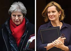 Undated file composite photo of Prime Minister Theresa May (left) and Home Secretary Amber Rudd, as Theresa May has accepted the resignation of Amber Rudd as Home Secretary, Downing Street has said.