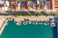 Aerial view of empty streets on the shore of a jetty due to the coronavirus pandemic in Patras, Greece