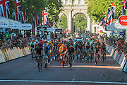 The Peleton comes down the Mall. Jean Pierre Drucker (Lux - BMC Racing) wins The London-Surrey Classic professional race. Prudential RideLondon a festival of cycling, with more than 95,000 cyclists, including some of the world's top professionals, participating in five separate events over the weekend of 1-2 August.