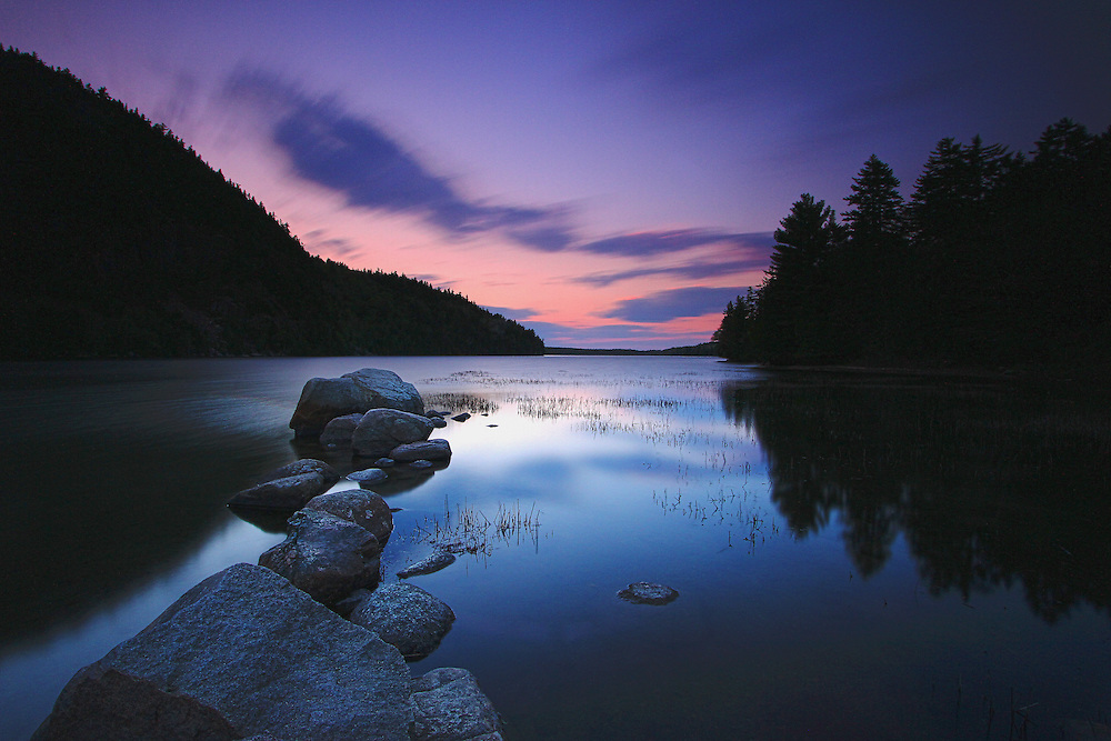 Maine photography images of a sunset at Echo Lake in Acadia National Park are available as museum quality photography prints, canvas prints, acrylic prints or metal prints. Prints may be framed and matted to the individual liking and room decor needs:<br /> <br /> http://juergen-roth.pixels.com/featured/echo-lake-juergen-roth.html<br /> <br /> Stunning sunset nature photography showing Echo Lake on Mount Desert Island at sunset. Echo Lake is located south of Somesville and just north of Southwest Harbor on MDI, Maine. The fresh water lake is shadowed by the soaring Beech Cliffs that rise vertically from the water which makes it so peaceful and calm. The view of the lake with the mountains is straight out of a magazine.<br /> <br /> Good light and happy photo making! <br /> <br /> My best, <br /> <br /> Juergen <br /> Website: www.RothGalleries.com<br /> Photo Prints: http://fineartamerica.com/profiles/juergen-roth.html<br /> Twitter: @NatureFineArt<br /> Facebook: https://www.facebook.com/naturefineart<br /> Instagram: https://www.instagram.com/rothgalleries