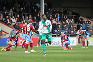 GOAL Plymouth Argyll forward Freddie Ladapo (19) scores 1-0 and celebrates during the EFL Sky Bet League 1 match between Scunthorpe United and Plymouth Argyle at Glanford Park, Scunthorpe, England on 27 October 2018. Pic Mick Atkins