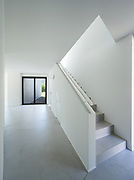 architecture, interior modern house, cement staircase and wide corridor