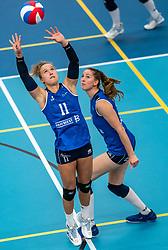 Ana Rekar #11 of Sliedrecht Sport, Carlijn Ghijssen-Jans #10 of Sliedrecht Sport in action during the supercup semifinal between VC Sneek and Sliedrecht Sport on October, 03 2020 in Van der Knaaphal, Ede