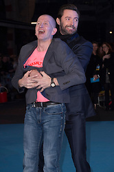 """Eddie """"The Eagle"""" Edwards and Hugh Jackman attends the European premiere for """"Eddie the Eagle at Odeon Leicester Square in London, 17.03.2016. EXPA Pictures © 2016, PhotoCredit: EXPA/ Photoshot/ Euan Cherry<br /> <br /> *****ATTENTION - for AUT, SLO, CRO, SRB, BIH, MAZ, SUI only*****"""