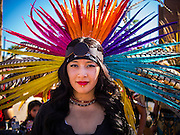 05 OCTOBER 2013 - PHOENIX, ARIZONA: A woman in stylized in an Aztec costume marches for immigration reform in Phoenix. More than 1,000 people marched through downtown Phoenix Saturday to demonstrate for the DREAM Act and immigration reform. It was a part of the National Day of Dignity and Respect organized by the Action Network.   PHOTO BY JACK KURTZ