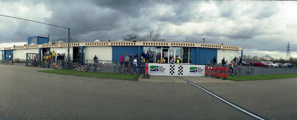 Scenes from the popular bicycle racing circuit, Eastway, in Stratford,east London