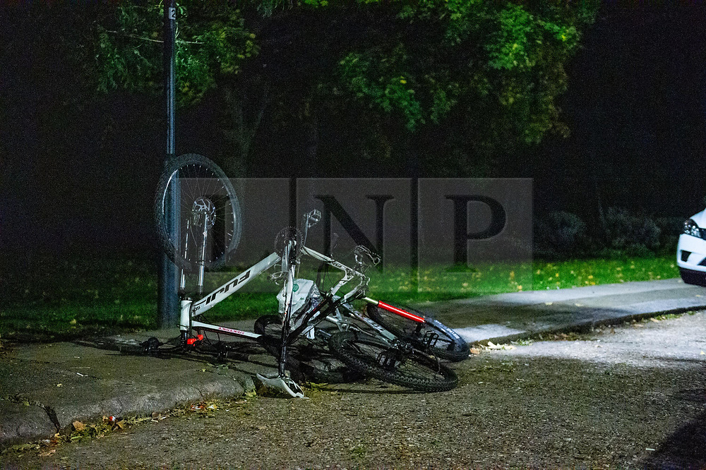 © Licensed to London News Pictures. 31/10/2019. London, UK. Two discarded bicycles at the entrance to Westglade Court, Harrow where police were called at 19:13GMT to reports of a man having been attacked. Metropolitan Police officers attended with London Ambulance Service and found a man, aged in his 30's, suffering from a stab injury to his hand. Another man, also aged in his 30's, was found with a stab injury to his head. Both have been taken to hospital by LAS with non-life-threatening injuries. Photo credit: Peter Manning/LNP