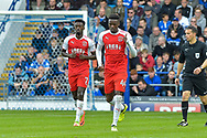 Fleetwood Town Players Celebrate  after Fleetwood Town Forward, Devante Cole (44) scores a goal to make it 1-1 during the EFL Sky Bet League 1 match between Portsmouth and Fleetwood Town at Fratton Park, Portsmouth, England on 16 September 2017. Photo by Adam Rivers.
