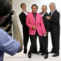 Don MacMonagle is pictured photographing Cliff Richard and The Shadows at the INEC, KIllarney for their programme celebrating 50th years in entertainment. The band did a 3 hour special in the INEC and then did a European tour followed by Australia and New Zealand. Don was helped by Eamon Keogh on assistant photographer and by Susan Fox on makeup.  Don used a Hasselblad HD39 digital camera and a Nikon D3 and an Apple Macbookpro with Phocus software to process the images. Cliff picked his own pictures and the Shadows likewise.The pictures were taken by Bogdan Zarkawski who designed the programme.