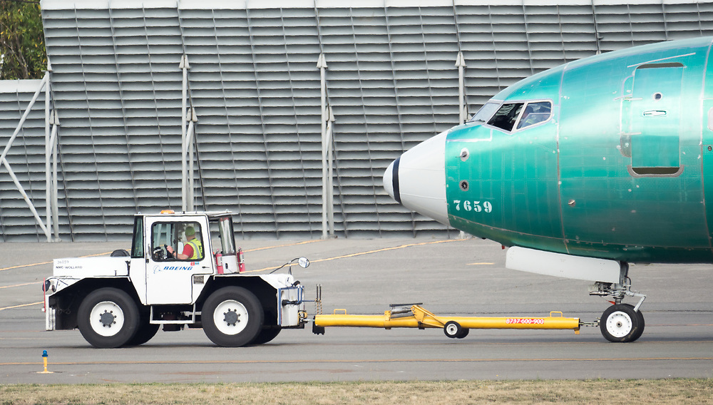 Boeing 737 MAX airplane being towed outside the Boeing Renton Assembly Plant in Renton, Washington. 07/27/2019