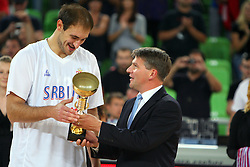 Nenad Krstic of Serbia and Roman Volcic at friendly match between Serbia and Croatia for Adecco Cup 2011 as part of exhibition games before European Championship Lithuania on August 9, 2011, in SRC Stozice, Ljubljana, Slovenia. (Photo by Urban Urbanc / Sportida)
