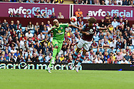 Rudy Gestede of Aston Villa ® just misses with a header at goal. Barclays Premier League match, Aston Villa v Sunderland at Villa Park in Birmingham, Midlands on Saturday 29th August  2015.<br /> pic by Andrew Orchard, Andrew Orchard sports photography.