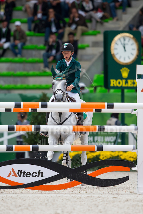 Bertram Allen, (IRL), Molly Malone V - Team & Individual Competition Jumping Speed - Alltech FEI World Equestrian Games™ 2014 - Normandy, France.<br /> © Hippo Foto Team - Leanjo De Koster<br /> 02-09-14