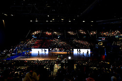General views of the Birmingham Arena prior to tip off as Bristol Flyers and Worcester Wolves warm up - Photo mandatory by-line: Ryan Hiscott/JMP - 26/01/2020 - BASKETBALL - Arena Birmingham - Birmingham, England - Bristol Flyers v Worcester Wolves - British Basketball League Cup Final